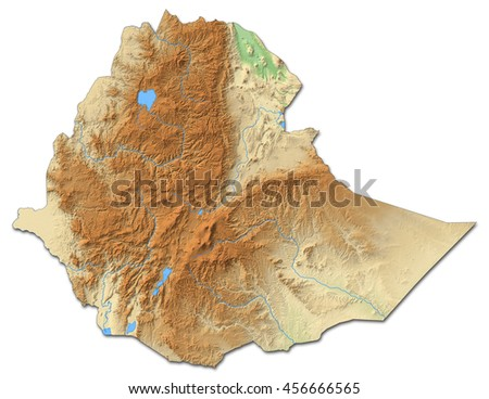Relief map of Ethiopia - 3D-Rendering - stock photo