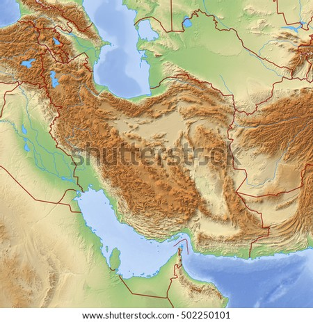 relief map of iran 3d rendering