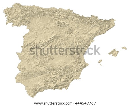 Relief map of Spain - 3D-Rendering - stock photo
