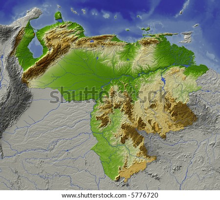 Relief map of Venezuela.  Shows major cities and rivers, surrounding territory greyed out.  Colored according to height. - stock photo