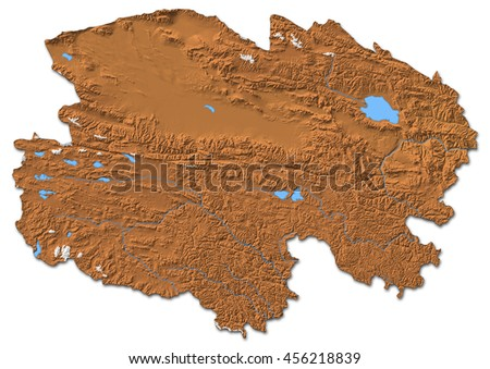 Relief map - Qinghai (China) - 3D-Rendering - stock photo