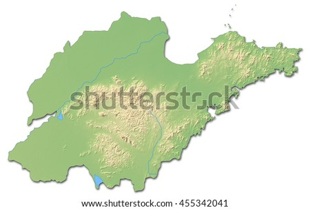 Relief map - Shandong (China) - 3D-Rendering - stock photo