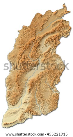 Relief map - Shanxi (China) - 3D-Rendering - stock photo