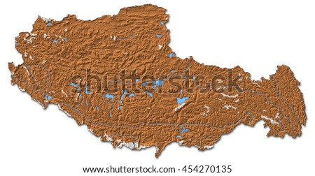 Relief map - Tibet (China) - 3D-Rendering - stock photo