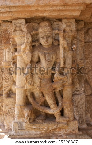 Relief of an Indian temple dancer at the Victory Tower of Chittorgarh