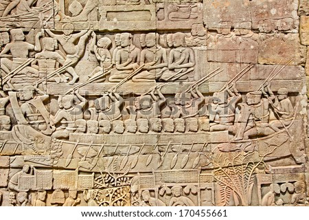 Relief of Prasat Bayon Temple in Angkor Thom, near Siem Reap, Cambodia - stock photo