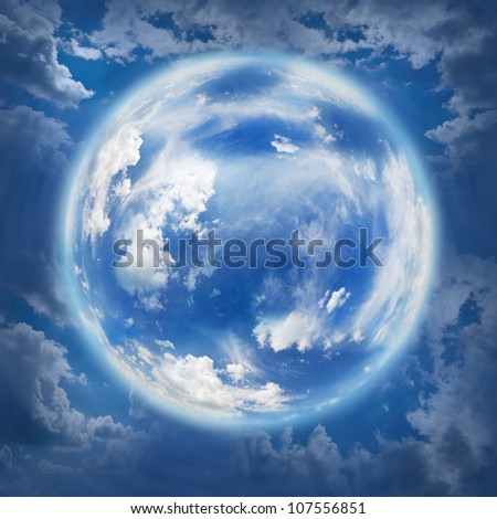 relief spring sky in the shape of the planet