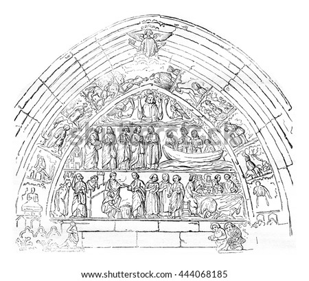 reliefs of the door bles of the church of our lady of semur vintage engraved