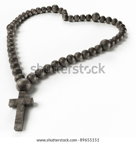 Religion and love: black chaplet or rosary beads over white - stock photo