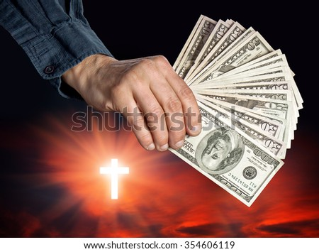 Religion as a business. Religion, faith and money concept - stock photo
