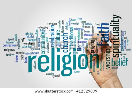 Religion concept word cloud background - stock photo
