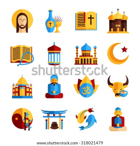 Religion icon set with christian islamic and oriental symbols isolated  illustration
