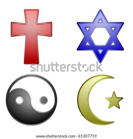 Religion icons - raster - stock photo