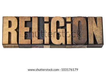 religion - isolated word in vintage letterpress wood type