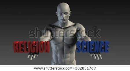 Religion or Science as a Versus Choice of Different Belief - stock photo