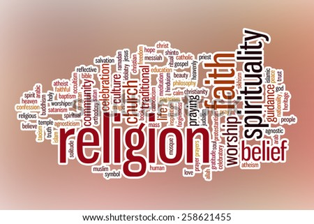 Religion word cloud concept with abstract background - stock photo