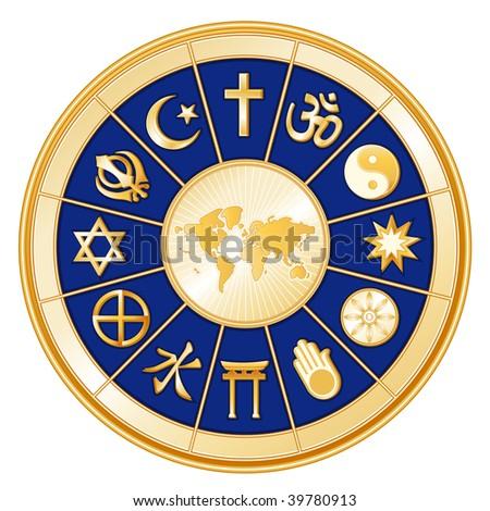 Religions Around the World on blue & gold mandala: Judaism, Sikh, Islam, Christianity, Hinduism, Taoism, Baha'i, Buddhism, Jain, Shinto, Confucianism & Native Spirituality. - stock photo