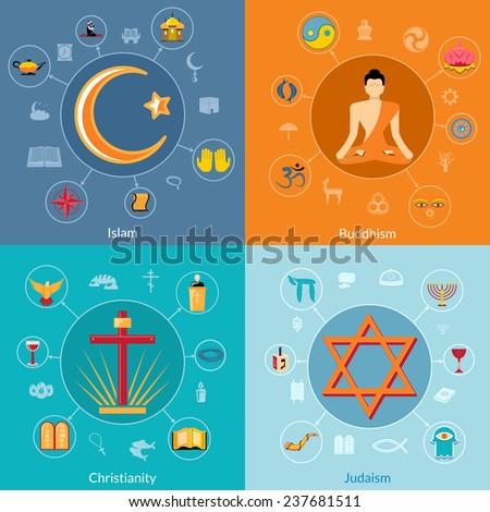 Religions icon flat set of islam buddhism christianity judaism symbols isolated  illustration - stock photo