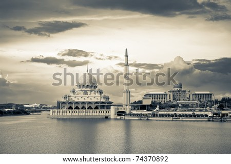 Religious architecture of Islam mosque in Putrajaya, Malaysia, Asia. - stock photo
