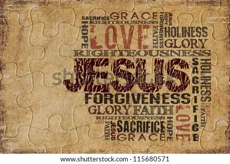 Religious Background Puzzle - stock photo