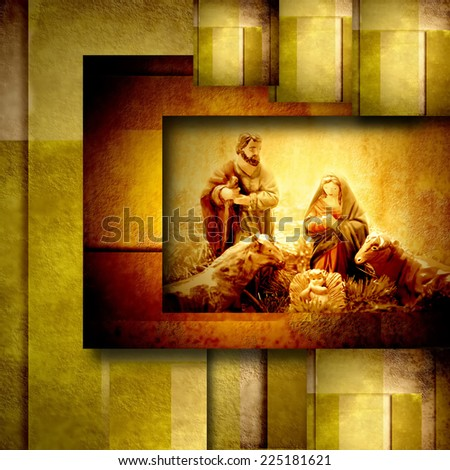 Religious Christmas Cards Nativity Scene in golden geometric background - stock photo