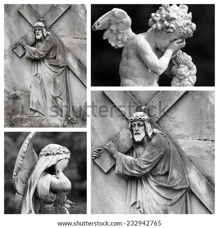 religious collage - Christ Carrying the Cross  - stock photo