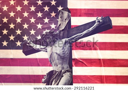 Religious Concept, Christianity in United States of America with Jesus Christ Crucifixion against USA Flag, Retro Toned Effect - stock photo
