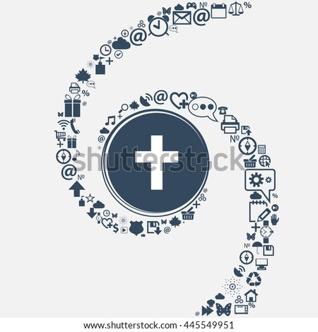 religious cross, Christian icon in the center. Around the many beautiful symbols twisted in a spiral. You can use each separately for your design. illustration - stock photo