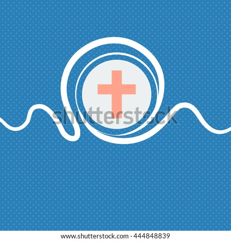 religious cross, Christian icon sign. Blue and white abstract background flecked with space for text and your design. illustration - stock photo