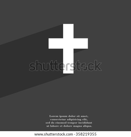 religious cross, Christian symbol Flat modern web design with long shadow and space for your text. illustration - stock photo