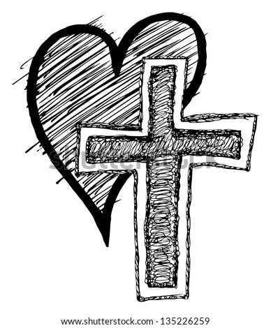 drawings of a cross with a heart