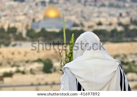 Religious Jew prays in Jerusalem at Succoth celebration - stock photo