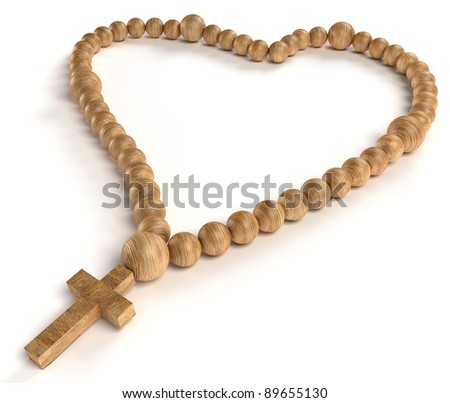 religious life and love: wooden chaplet or rosary beads over white background - stock photo
