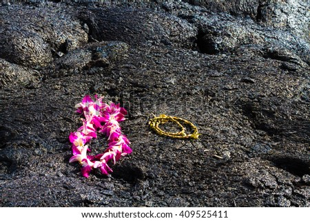 Religious offering left on lava for the Goddess Pele on Big Island, Hawaii