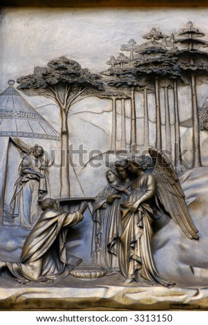 Religious sculpture of angels - stock photo