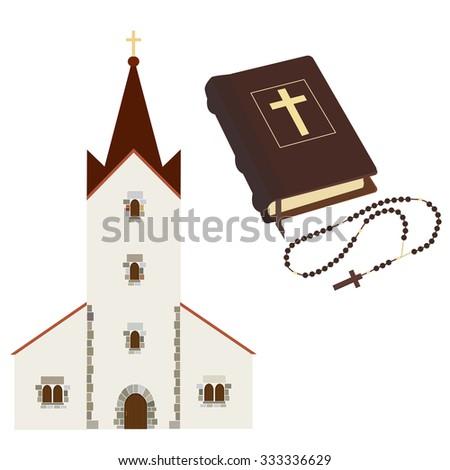Religious set with church, holy bible, rosary beads raster isolated, christian, catholic - stock photo