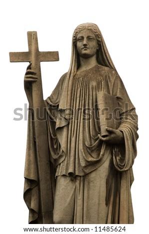 Religious statue, white background, Buenos Aires cemetery. - stock photo