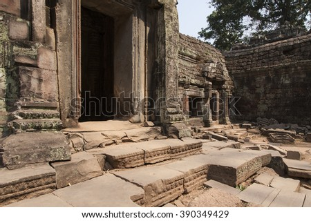 Religious stone carvings and temple wall decorations Asia, old stone temples Asia ancient historical park Asian Buddhists temples and culture.