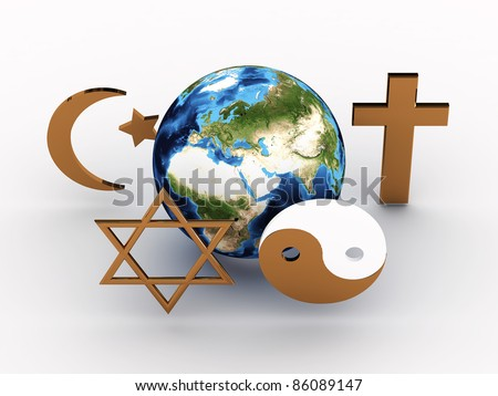 Religious symbols of our planet. 3D image - stock photo