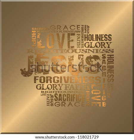Religious Words Gold Style Background - stock photo
