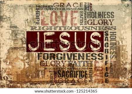 Religious Words on Grunge Background - stock photo