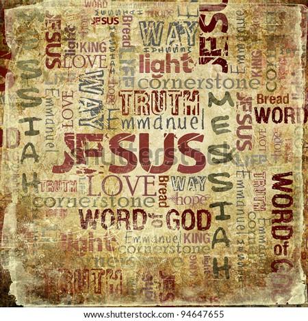 Religious Words on Grunge Background - stock photo