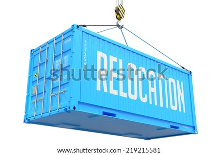 Relocation - Blue Cargo Container hoisted with hook Isolated on White Background. - stock photo