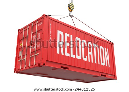 Relocation - Red  Cargo Container hoisted by hook, Isolated on White Background. - stock photo