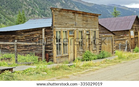 Remaining buildings in the gold and silver mining ghost town of St. Elmo near Buena Vista, Colorado, U.S.A. - stock photo