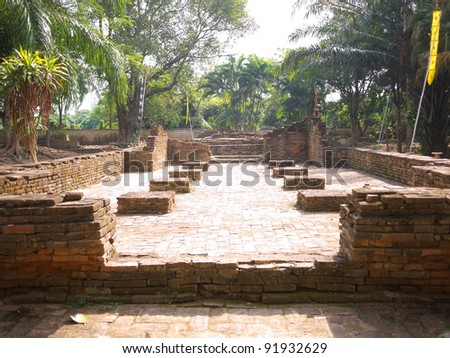 Remaining of Wat Chang Kam, Wiang Kum Kam. Wiang Kum Kam is the ancient city, hope to be capital of Lanna Kingdom prior to Chiangmai. - stock photo