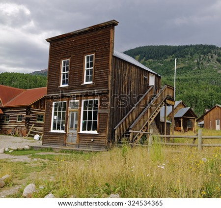 Remaining 1880 town hall building in the silver mining ghost town of Gothic near Crested Butte, Colorado, U.S.A. - stock photo