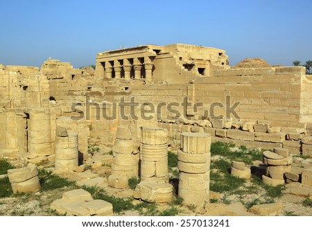Remains and ruins of the ancient egyptian temple at dendera - stock photo