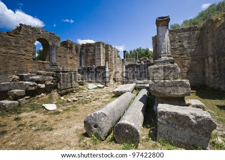remains at ancient Olimpia archaeological site in Greece - stock photo