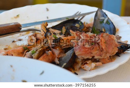 Remains from a seafood meal - stock photo